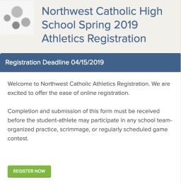Family ID Spring Sports Registration at Northwest Catholic.