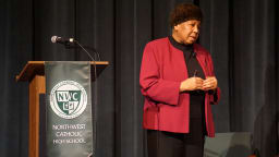 Joan H. Gibson, NAACP 1st VP, at Northwest Catholic.