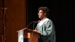 Pierce Vaughns presents his reflection at Baccalaureate Mass 2019