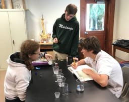 Students doing a science experiment in anatomy class