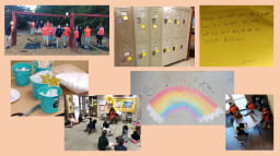 collage of pictures kids, lockers, locker notes, rainbow in chalk on sidewalk