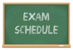 Exam Schedule written on a chalk board