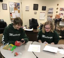 Two students sitting at a desk working