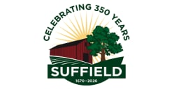 Logo of Suffield 350th Anniversary; barn and tree with sun in backdrop