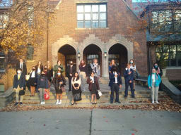 Members of speech and debate in front of OHS