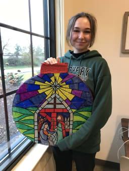 Cornerstone Student Jordan Weber and her Christmas Art