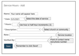 Community Service Hours Screen