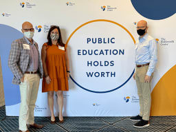 Pictured l-r: Eanes ISD Superintendent Dr. Tom Leonard, Chief Learning Officer Susan Fambrough, Deputy Superintendent Dr. Jef