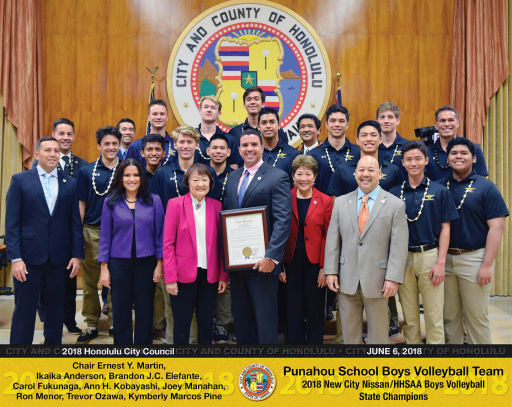 ... And Congratulated Punahou Head Coach Rick Tune U002793, His Assistant  Coaches And The Boys Volleyball Team On Winning The 2018 New City Nissan/HHSAA  ...