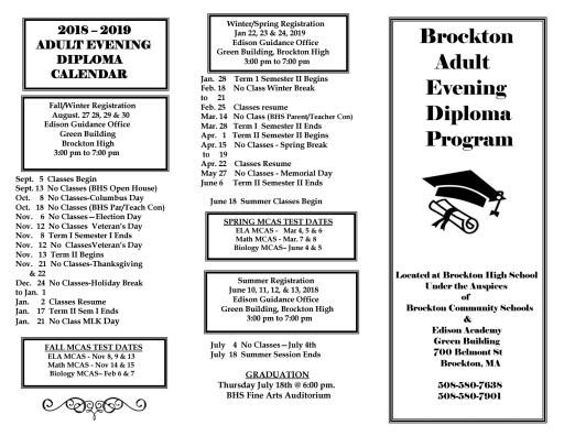 Adult Evening Diploma Program - Brockton Public Schools