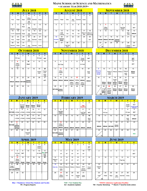 Calendars The Maine School Of Science And Mathematics