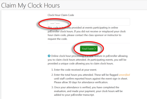 claim pay for clock hours in pdenroller puget sound educational