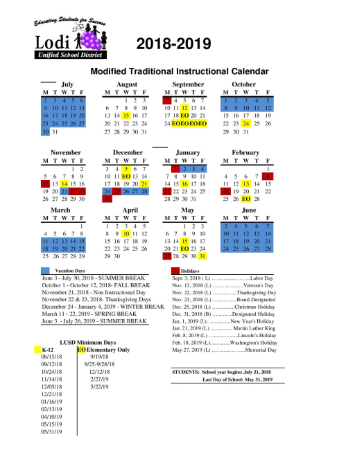 calendars lodi unified school district