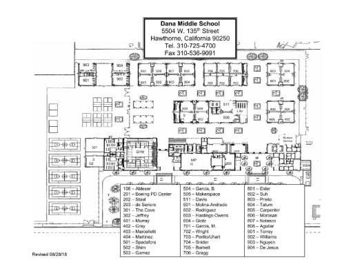 Map of Dana Campus - R.H. Dana Middle De Anza Campus Map on
