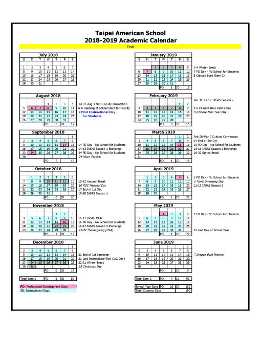 School Calendar - Taipei American School