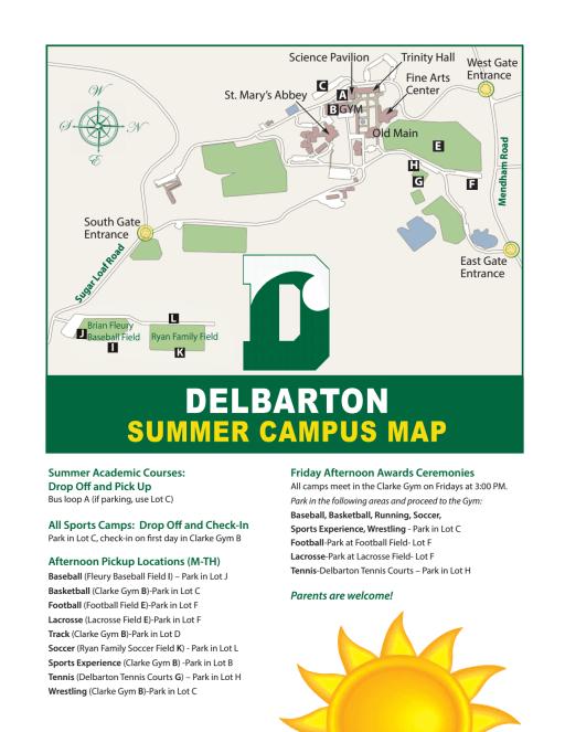 Pick Up/Drop Off Map - Delbarton Summer Camps