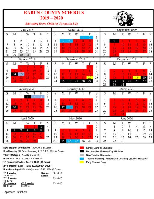Calendario Tiger 2019.School Year Calendar Rabun County Schools