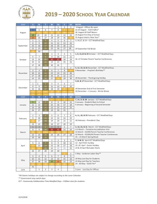 Ramadan 2020 Calendario.School Calendar American Community School Amman