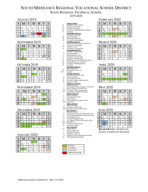 Calendario Coop 2020.Calendars Events Keefe Regional Technical School
