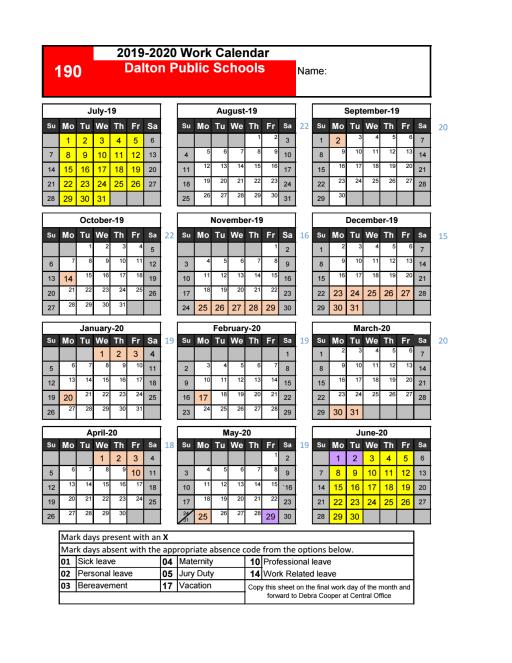 Federal Pay Period Calendar 2020.Employee Work Calendar Dalton Public Schools
