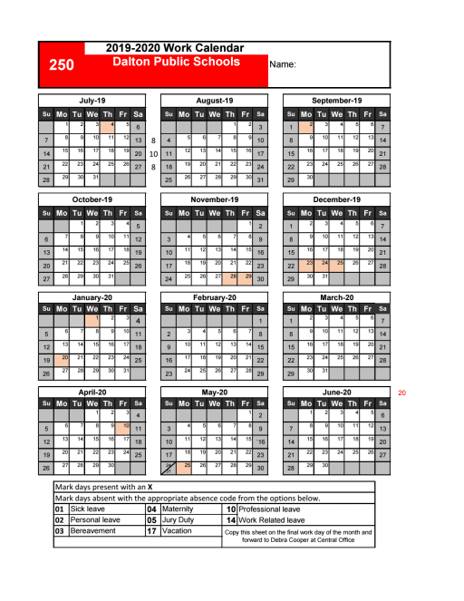 Employee Work Calendar - Dalton Public Schools