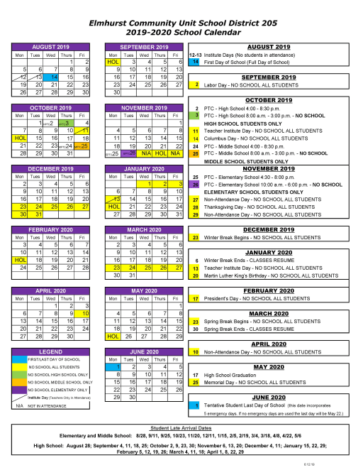 Calendario Estate 2020.Calendars Elmhurst Community Unit School District 205