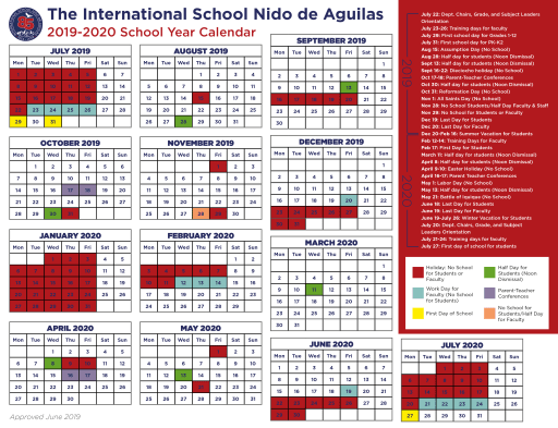 Calendario Escolar 2019 Campo Grande Ms.School Year Calendar International School Nido De Aguilas