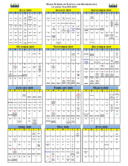 Houlton Calendar February 2020 Calendars   The Maine School of Science and Mathematics