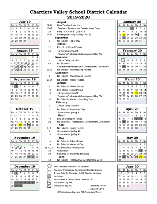 Pittsburgh Public School Calendar.182 Day Calendar Chartiers Valley School District