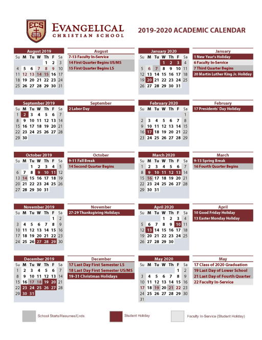 Athletic Calendario 2020.Calendars Evangelical Christian School