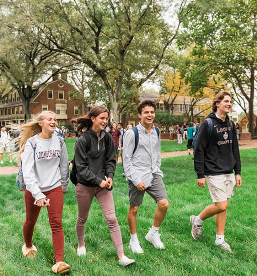 Loomis Chaffee students walking on Grubbs Quad