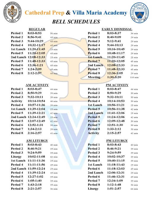 Bell Schedules - Cathedral Preparatory School and Villa Maria Academy