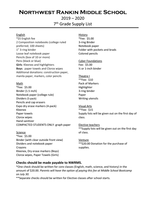 7th Grade Supply List - Northwest Rankin Middle School