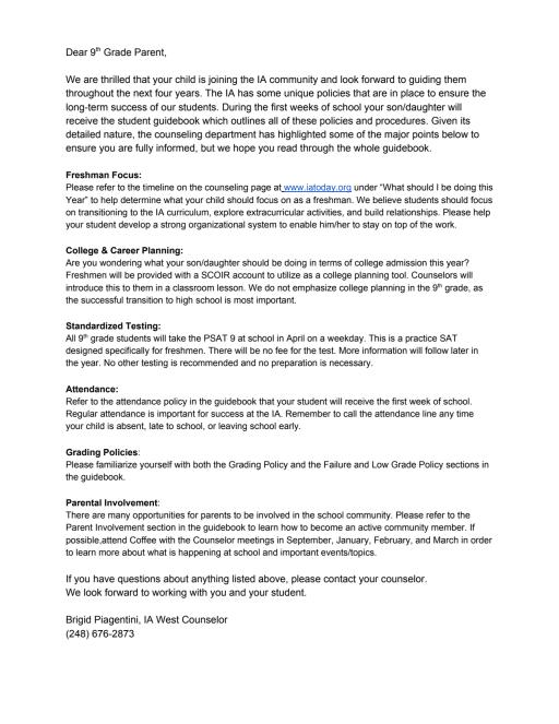 West Summer Mailing 2019-2020 - International Academy