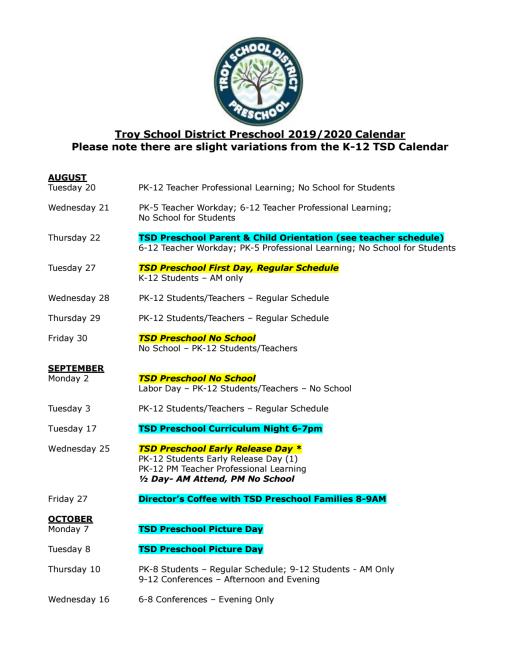 Troy City Schools Calendar 2021-2022
