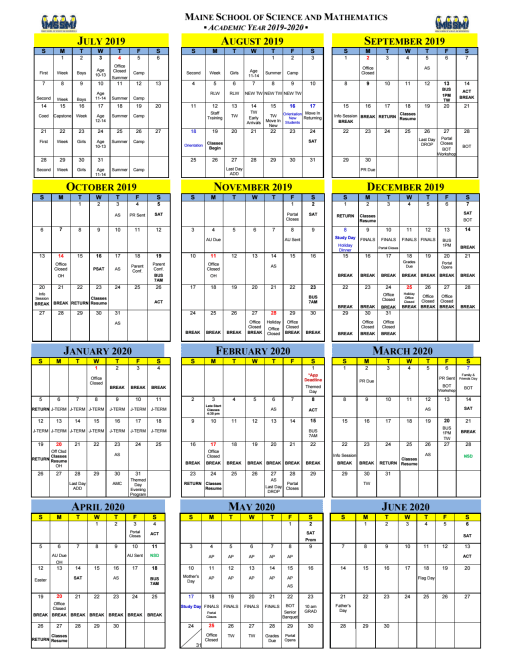 Calendars - The Maine School of Science and Mathematics