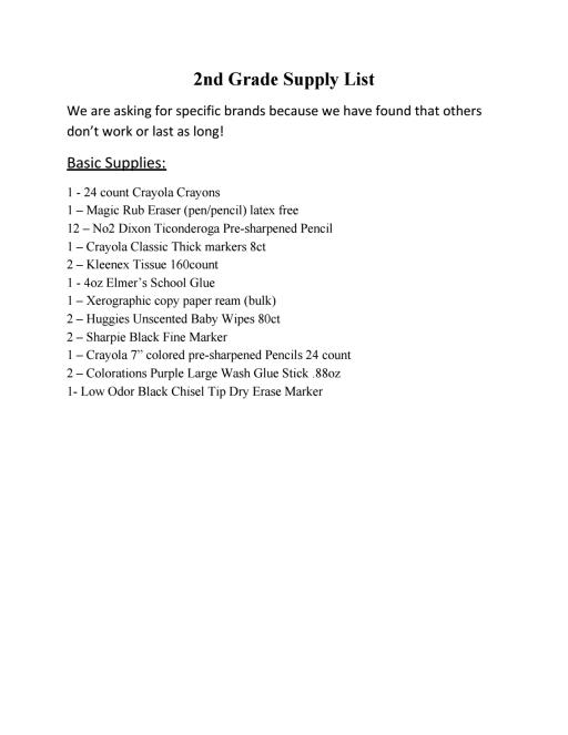 School Supply List - Juan de Anza Elementary School