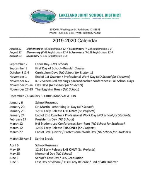 Calendar - Lakeland Joint School District 272