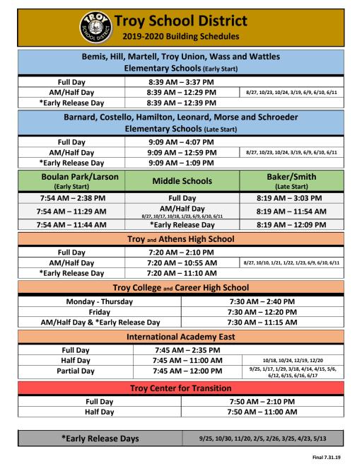 Troy City Schools Calendar 2021-2022 Images