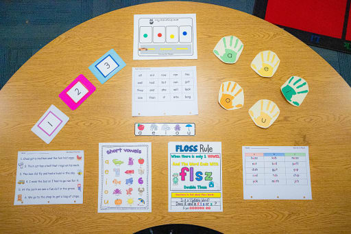 A reading table covered with 9 colorful resources.