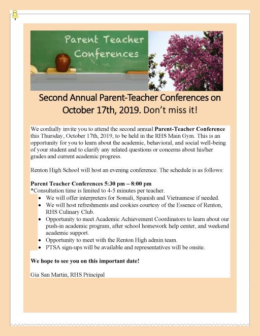 Parent Teacher Conferences - Renton High School