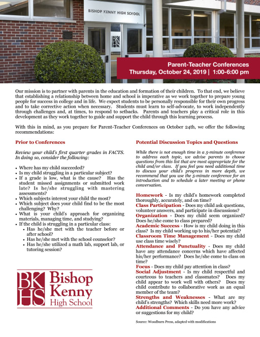 Parent-Teacher Conferences - Bishop Kenny High School