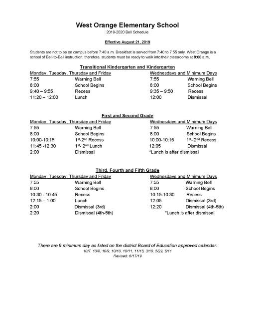Bell Schedule Orange Unified School District