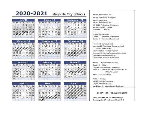 2020 21 Calendar (print ready)   Maryville City Schools