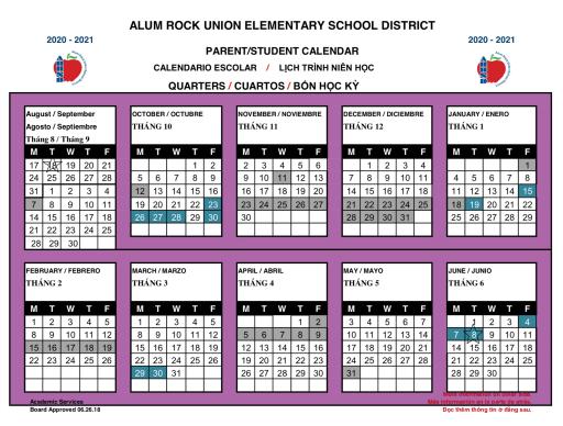 District Calendar   Alum Rock Union School District
