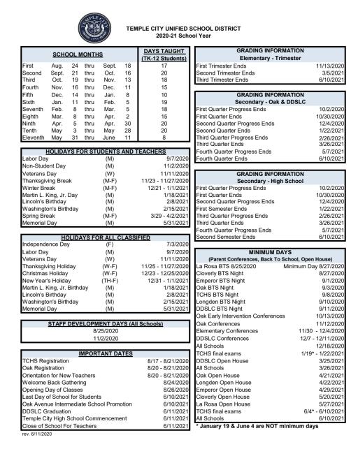 Tusd Calendar 2022.Tcusd Calendars Temple City Unified School District