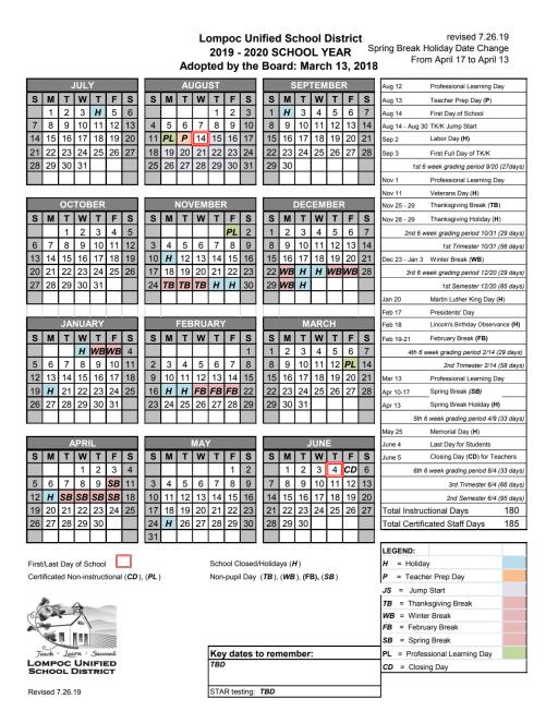 Lisd 2022 23 Calendar.District Calendars Lompoc Unified School District
