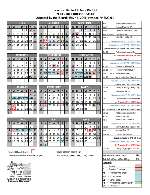Cusd Calendar 2022 23.District Calendars Lompoc Unified School District