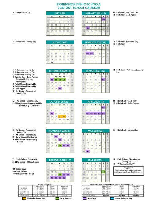 Photos of Connecticut School Calendar 2021-2022