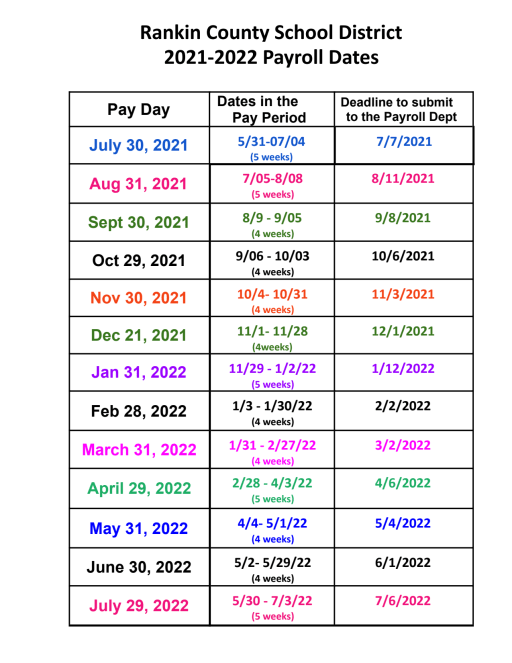 Payroll Calendar   Rankin County School District